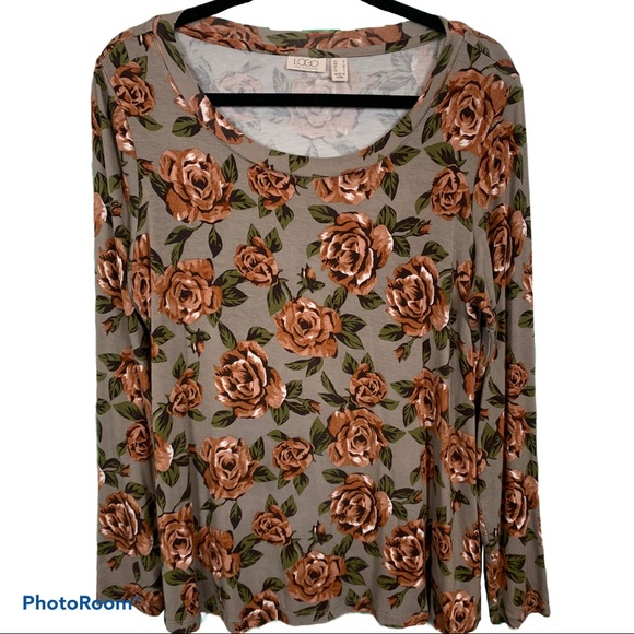 LOGO Lori Goldstein Floral Knit Top M